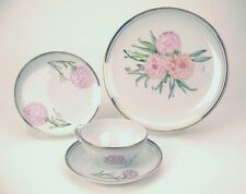 Tea Place Setting, CARNATION Hand Painted Royalton White Dinner Salad Cup Saucer