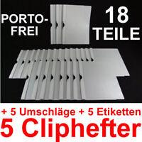 5 Cliphefter Bewerbungsmappen + 5 Umschläge + 5 Etis - WEISS - Set für Bewerbung