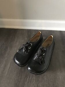 Alegria Womens Black Leather Lace Up Oxford Comfort Shoes ABB-601 Sz 37 Us 7