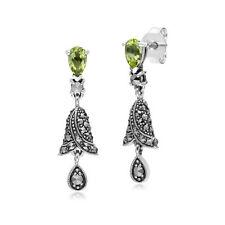 Gemondo Sterling Silver Pear Peridot and Marcasite Bell Drop Earrings