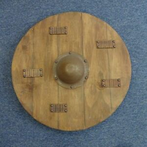 """24"""" Hand Made Large Round Timber Viking Shield With Aged Boss Re-enactment Stage"""