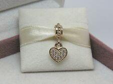 Pandora NEW Pave Diamond Heart Dangle .06tcw  14K 585 Charm #750809D RETIRED