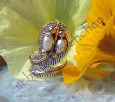 Anillo Culebra Cobra Perla Plata Esterlina 925 Bicolor Armadura 16,8mm