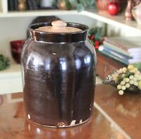 Rare Brown Glazed Stoneware Pottery Primitive Crock with Lid