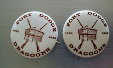 2 rare fort dodge dragoons 1850-1962 pin back buttons