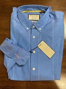 NWT  THOMAS PINK men's SZ M Healy check windowpane blue LS shirt