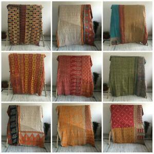 Vintage Boho Indian Kantha Quilts Bedspread Bedding Throw Gudari Blanket Ralli
