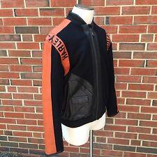 Harley Davidson Motorcycles Mens S Black Orange Wool Leather Trim Jacket Coat