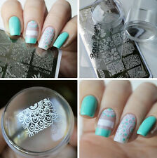 3Pcs Arabesque Nail Art Stamp Plate & Clear Marshmallow Silicone Jelly Stamper