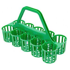 Glass Carrier 10 Compartment Green Basket Bottle Holder Plastic Collector