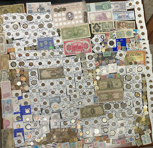 Huge Lot 500+ Coin/Stamp~Silver Note/Barber/Mercury/Buffalo/WL/Proof/Indian/VDB+