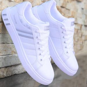 Zapatos Casuales Blancos Para Hombre Zapatillas De Cuero Moda Deportivos Cómodas