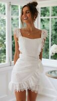 BNWT White Lace Embroidered Ruffled Petunia Cocktail Mini Dress size 6 8 10