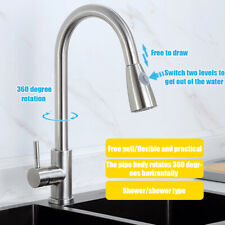 Kitchen Sink Faucet Stainless Steel Pull Out Spray Brushed Hot & Cold Mixer Tap