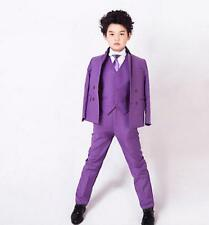 Custom Purple Babys Toddlers Party Graduation Suit Wedding Page Boys Kids Tuxedo