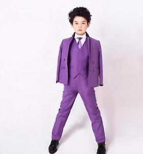 Custom Purple Babys Toddlers Party Graduation Suit Wedding Page Boys Kids Tuxedo