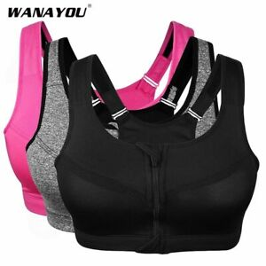 Women Plus Size Sports Fitness Bra Gym Yoga Front Zipper Push Up Padded Top Crop