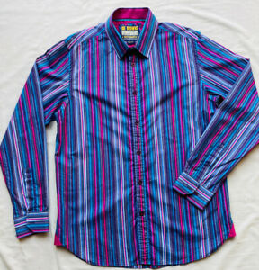 JOE BROWNS Men's Oxford Shirt Candy Stripes M Medium Cotton Multicolour Vibrant