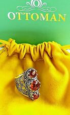 Baltic Amber & Sterling Silver 3 Stone Filigree Ring Size 7/N