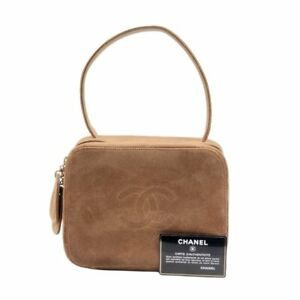100% Auth Chanel CC Suede Brown Rare Vintage Hand Bag