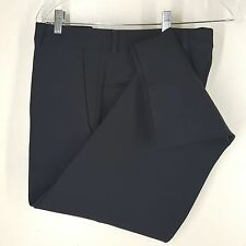 "*DONNA KAREN*BLACK FLAT FRONT PANTS 96%WOOL 4 SPANDEX MADE IN ITALY WAIST 36""X28"