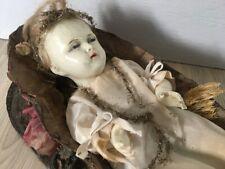 Antikes Wachskind Christkind Wachspuppe Glasaugen Antique Kindl Mannequin