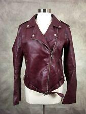 Fashion Nova Women's Faux Leather Motorcycle Jacket Zipper Front Size XL