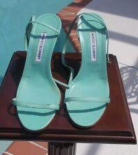Manolo Blahnik Mint Green/Aqua Strappy Ankle Crisscross Tie Heel Sandal 39.5 US9