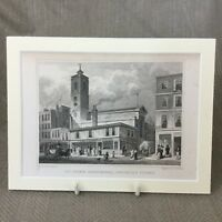 1830 Antico Incisione London Chiese San Dionis Chiesa Fenchurch Architettura