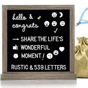 Muga Black Felt Letter Board with 539 Letters 12x12 inches, Block Stand, Rust...