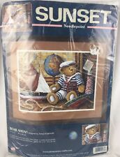 "Sealed ""BEAR AHOY"" Sunset Needlepoint Kit Nautical Lighthouse Teddy Bear #12161"