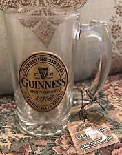 New Guinness Beer Limited Edition numbered Glass Tankard Stein Pewter Logo Tag