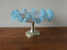 More details for antique blue satin glass ruffled edge comport