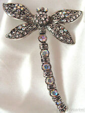 """3"""" Filigree AB Crystal Dragonfly Insect Pin Brooch"""
