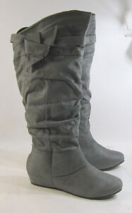 """new Gray 1.5""""Hidden Wedge Round Toe Side Bow Sexy Knee Boots US WOMEN SIZE 10"""