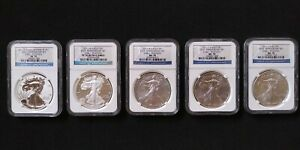 2011 Silver Eagle 25th Anniversary 5-Coin Set - NGC MS70 PF70 - Reverse Proof