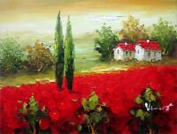 Tuscany Italy, Field with Poppies 2, Quality Hand Painted Oil Painting, 12x16in