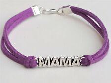Bracelet Plaque Mother Leather Purple Bead IN Zamak Detail Heart