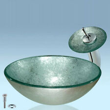 Modern Silver Tempered Glass Bathroom Round Vessel Sink & Waterfall Mixer Faucet