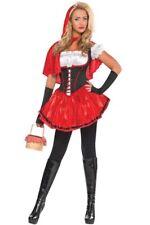 Ladies Red & Black Riding Hood Costume Fancy Dress Halloween Size Small 8-10 UK