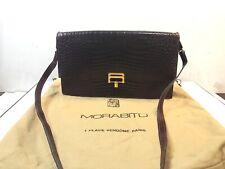 Authentic Morabito Crocodile Exotic Leather Shoulder Bag Purse Burgundy