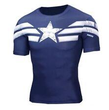 New Fitness Compression Short Sleeve T-Shirt Men's Captain America Bodybuilding