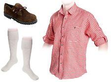 Trachtenset aus Trachtenschuhe Dunkelbraun + Trachtenhemd Rot + Trachtensocken