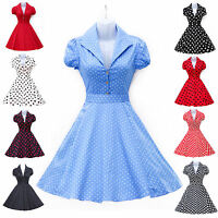 RED BLUE 1950'S VINTAGE STYLE RETRO POLKA DOTS SWING PINUP TEA PARTY PROM DRESS