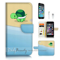 ( For iPhone 7 ) Wallet Case Cover P3195 Little Turtle