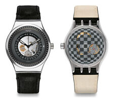 Swatch Sistem Solaire Automatic Watch yis414 Analogue Leather Black