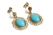 9ct Gold Turquoise Filigree Drop dangly earrings Made in UK Gift Boxed