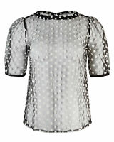 Oliver Bonas Women Embroidered Spot Mesh Monochrome Black Blouse
