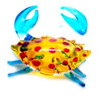 Tiny crab #2 hand blown clear glass miniature figurine crystal dollhouse animal