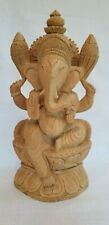 Hand Carved Sandalwood Ganesha Ganesh Hindu God of Intellect and Wisdom